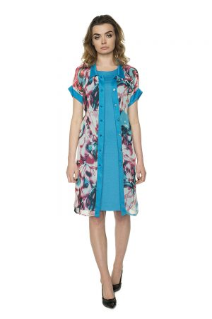 mėlynai marga šifono suknelė vaaudress.eu