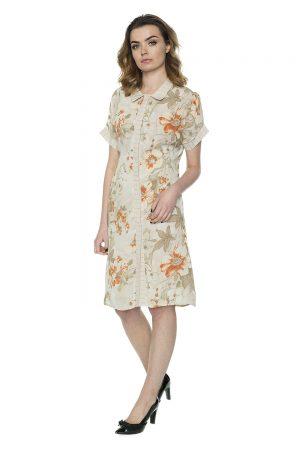 vaaudress.eu gėlėta kreminės spalvos šifono suknelė
