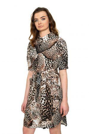 Tigrgrinė marškinių tipo suknelė