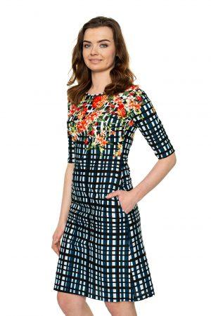 RYškiaspalvė suknelė reglano rankovėmis