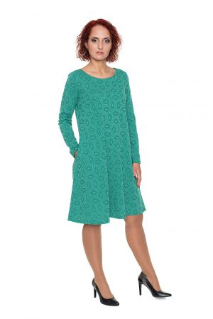 Žalia suknelė su vilna