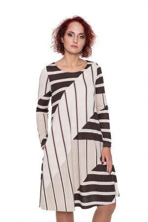 kreminės spalvos varpelio silueto suknelė