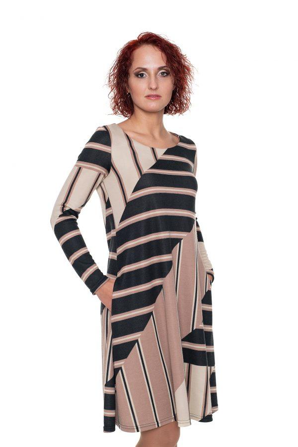 rusvos spalvos varpelio silueto suknelė