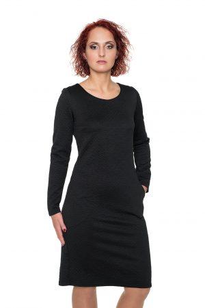 Spausto rašto juoda suknelė