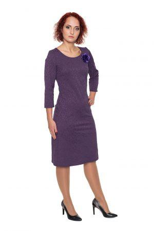 violetinė žakardo suknelė