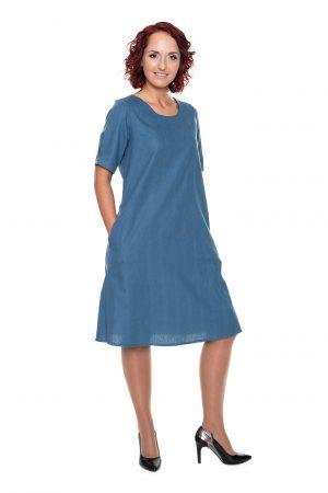 mėlyna medvilninė suknelė