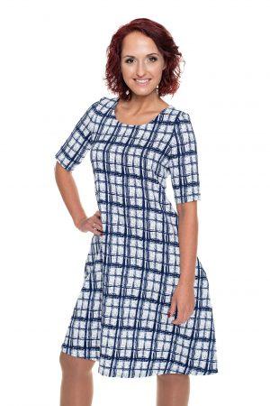 mėlynai languota varpelio silueto suknelė