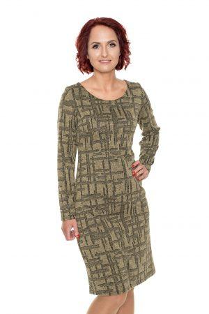 Chaki mezginio raštų suknelė