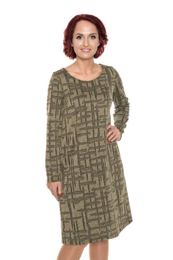 Chaki mezginio raštų tiesi suknelė