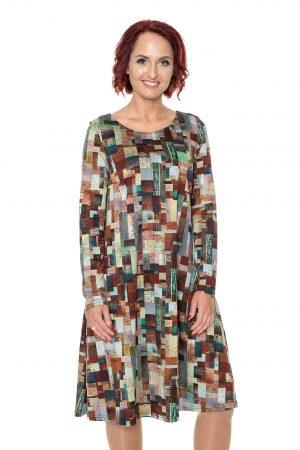 Kvadratais marginta varpelio silueto suknelė