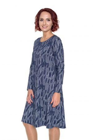 Varpelio silueto suknelė apvaliu kaklu