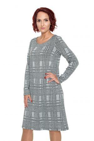 Pilka tiesi mezginio raštų suknelė