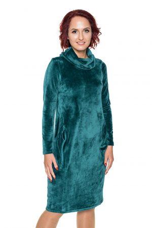 Žalia siaurėjanti aksomo suknelė