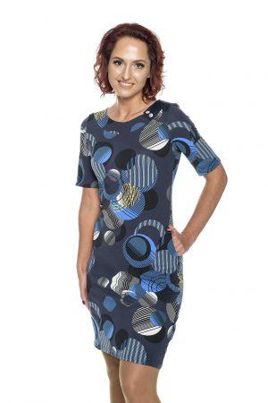 Mėlynų raštų suknelė su sagyte