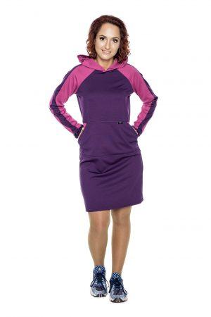 violetinė laisvalaikio stiliaus suknelė