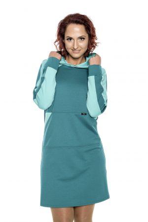 žalia laisvalaikio stiliaus suknelė